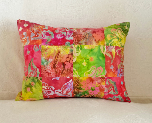 Red, Orange, Yellow and Green Patchwork Cushion