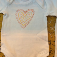 Hand painted pink frilly heart pattern cotton baby grow size 3-6 months