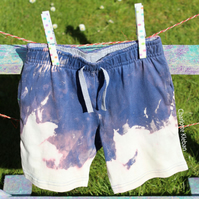 Hand dyed grunge style acid wash dip dye cotton boy's shorts size 3 years