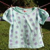 Hand drawn mint green cotton baby girl's size 12-18 months t-shirt with bow