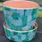 Hand painted shades of green and blue brush stroke deisign planter and base