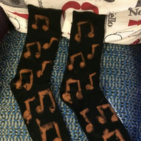 Hand painted grunge music notes pattern black acid wash men's socks size 9-13