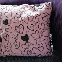 Handmade hand drawn and embroidered peach heart cushion SALE