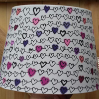Hand drawn white cotton lampshade with pink and purple hearts pattern