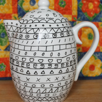 Hand drawn large white porcelain monochrome teapot with Aztec pattern tea lovers