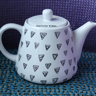 Porcelain hand drawn pizza pattern teapot tea lovers tea party time for tea
