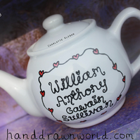 Hand Drawn Personalised New Baby Teapot
