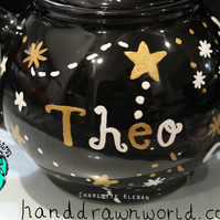 Personalised teapot, constellation, moon and stars, personalised gifts
