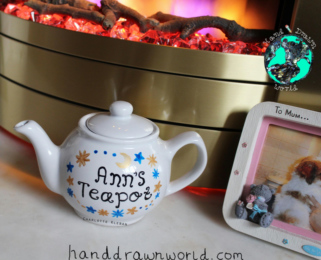 Personalised teapot, moon and stars, constellation, personalised gifts, tea gift