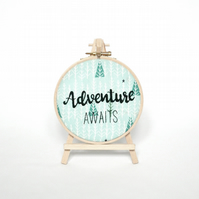 "Adventure Awaits embroidery hoop art, 5"" hand embroidered gift for adventurers"