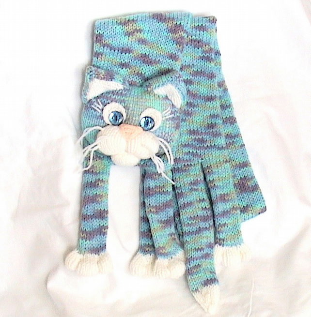 Knitted Cat Scarf Pattern : Knitted Cat Scarf - Folksy