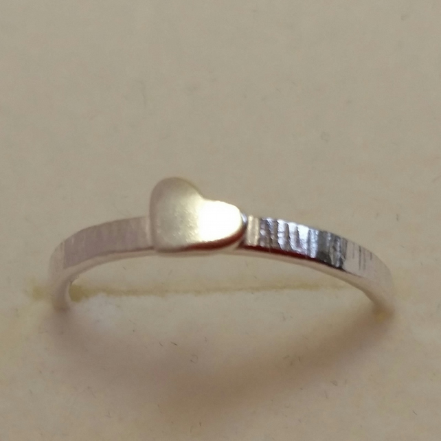 Band Heart Stacking Ring sterling silver handmade UK Designer ChaByDesign