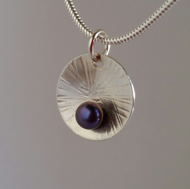 Peacock Freshwater Pearl and sterling silver disc Pendant Necklace handmade UK