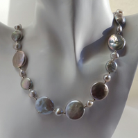 Freshwater Pearl Necklace sterling silver handmade Designer UK grey coin nugget