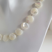 White Mother of Pearl Necklace coin beads sterling silver handmade jewellery UK