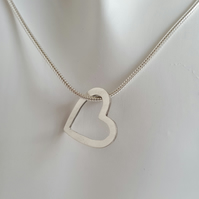 Heart Pendant Necklace sterling silver handmade jewellery UK metalwork