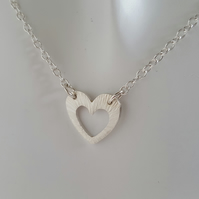 Textured Heart Pendant Necklace sterling silver handmade jewellery UK metalwork