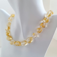 Citrine Gemstone Necklace sterling silver handmade jewellery UK big nugget beads