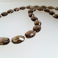 Faceted Smoky Quartz Gemstone Necklace sterling silver handmade UK oval beads