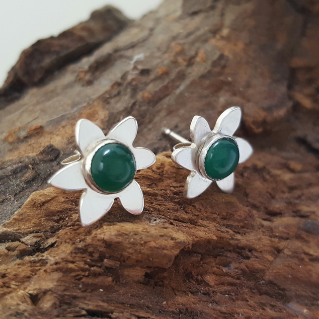 Green Onyx Flower Studs sterling silver handmade gemstone earrings UK Designer