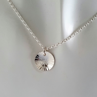 Textured Disc Pendant Necklace sterling silver handmade jewellery UK metalwork