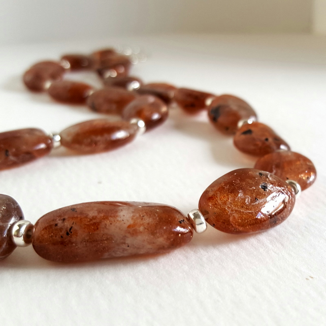 Sunstone Necklace sterling silver handmade jewellery UK