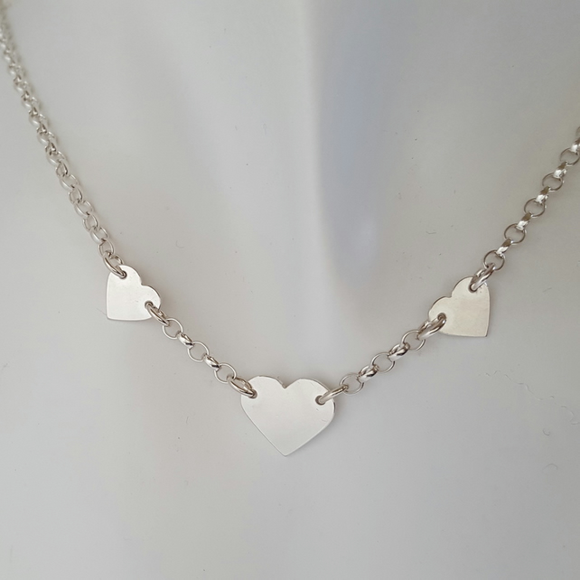3 Heart Necklace sterling silver handmade jewellery UK metalwork