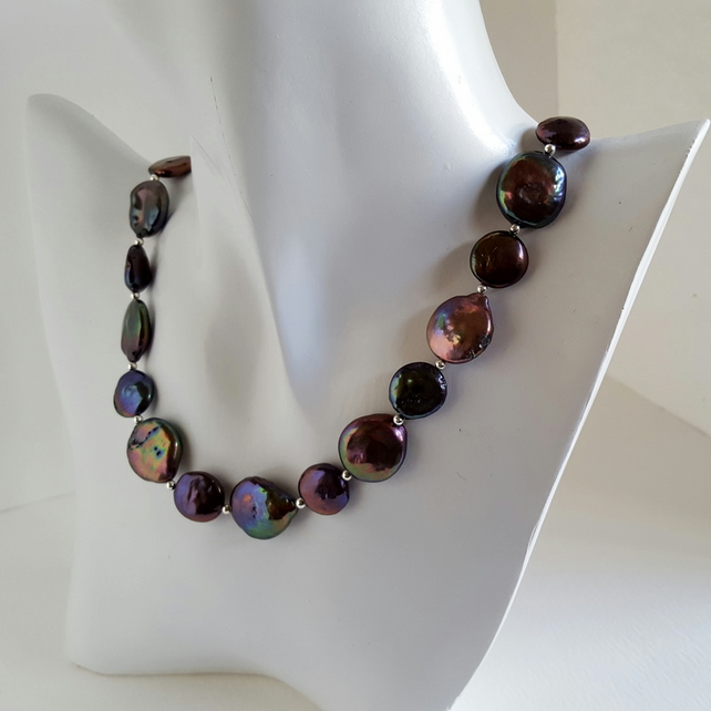 Black Freshwater Pearl Necklace coin beads sterling silver handmade Designer UK