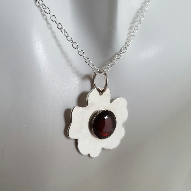 Red Garnet Flower Pendant Necklace sterling silver handmade UK snake chain