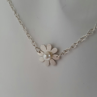 Daisy Flower Freshwater Pearl and sterling silver Pendant Necklace handmade UK