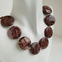 30mm Coin Jasper Necklace sterling silver handmade jewellery UK