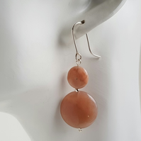 Sunstone Coin Dangle earrings sterling silver handmade gemstone jewellery UK