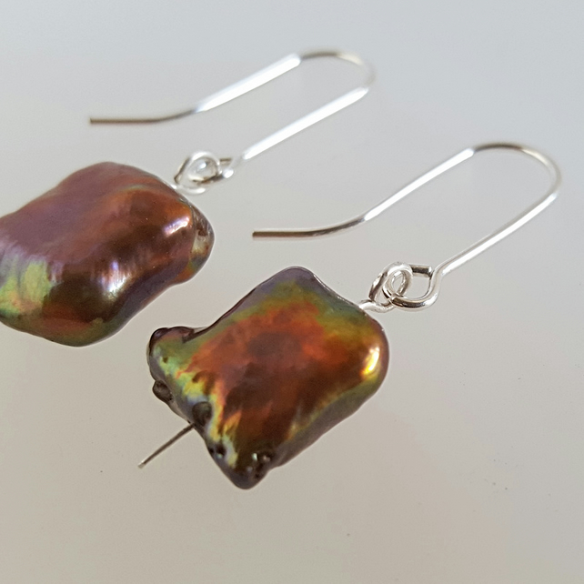 Copper Freshwater Pearl dangle Earrings sterling silver handmade UK
