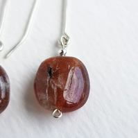 Sunstone Nugget Dangle earrings sterling silver handmade gemstone jewellery UK