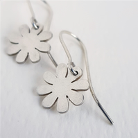 Daisy Flower Dangle Earrings sterling silver handmade jewelery Designer UK