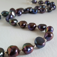 Black Freshwater Pearl Necklace nugget beads sterling silver handmade UK