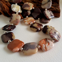 20mm square Jasper Bead Necklace sterling silver handmade jewellery UK