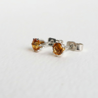 4mm faceted Citrine Stud Earrings sterling silver handmade jewelery UK yellow
