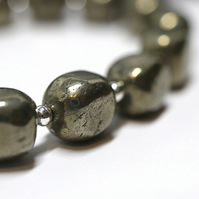 Nugget Pyrite Necklace sterling silver handmade jewellery UK