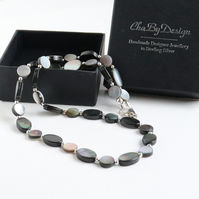 Grey Mother of Pearl Necklace coin beads sterling silver handmade jewellery UK