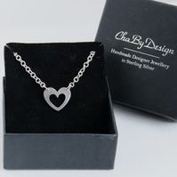 Heart Necklace sterling silver handmade jewellery UK metalwork