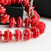 Red Bamboo Coral Necklace sterling silver handmade jewellery UK