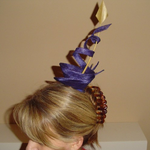 Cocktail Creation - royal blue with gold quill - fascinator
