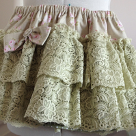 Lace Tiered Skirt (Sage and Roses