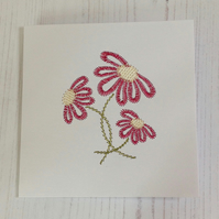Daisy embroidered greeting card