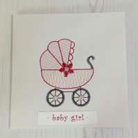 Baby Girl Embroidered greeting card