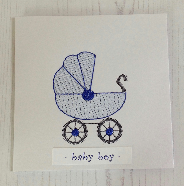 Baby Boy Embroidered Greeting Card