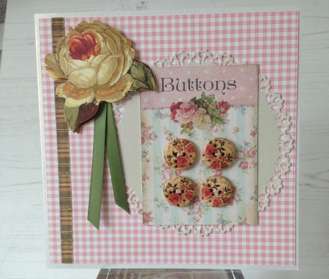 Button and gingham card
