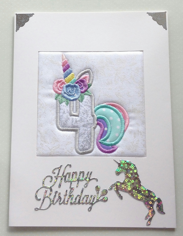 Unicorn Age 4 Card