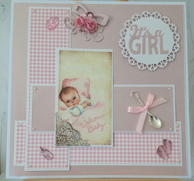 It's A Girl Gingham Card